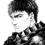 1boy armor berserk berserker_armor closed_mouth commentary from_side greyscale guts_(berserk) looking_at_viewer looking_to_the_side male_focus monochrome one_eye_closed portrait scar scar_on_face scar_on_nose short_hair shu-mai sideways_glance simple_background solo upper_body white_background
