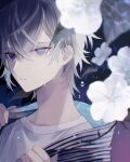 1boy blue_eyes droplets flower grey_hair hair_between_eyes highres holding holding_clothes leaf liquid_clothes looking_at_viewer male_focus muon original shirt shirt_grab solo summer water white_flower white_shirt