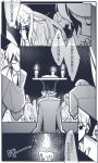 6+others altar book candle candlelight chinese_commentary chinese_text cloak commentary_request highres jacket kneeling long_hair lord_of_the_mysteries monochrome multiple_others necktie open_book panels praying shirt short_hair sound_effects speech_bubble wheatfieldsmu