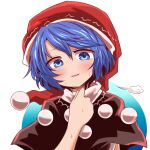 1girl bangs black_capelet blue_eyes blue_hair blush capelet clip_studio_paint_(medium) commentary_request doremy_sweet eyebrows_visible_through_hair hat looking_at_viewer nightcap open_mouth pom_pom_(clothes) red_headwear short_hair short_sleeves solo touhou upper_body white_background yasui_nori