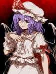 1girl fangs fangs_out fingernails hair_between_eyes hand_on_own_chest hat hat_ornament highres itou_yuuji medium_hair nail_polish puffy_short_sleeves puffy_sleeves purple_hair red_background red_eyes red_nails red_ribbon remilia_scarlet ribbon shirt short_sleeves sleeve_ribbon smile solo touhou white_headwear white_shirt wings