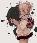 1girl bangs blonde_hair blood blood_on_clothes boku_no_hero_academia bottle closed_eyes closed_mouth cowboy_shot double_bun from_side grey_background hair_ornament heart holding holding_knife knife kona_(konahana) long_sleeves messy_hair miniskirt pleated_skirt scarf sideways_glance simple_background skirt smile solo splatter toga_himiko white_background
