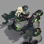 1girl belt black_dress black_legwear blonde_hair dress expressionless eyebrows_visible_through_hair frog glowing highres jun_(seojh1029) long_hair looking_at_viewer mecha original riding science_fiction solo symbol-only_commentary thigh-highs walker yellow_eyes
