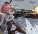 1girl armpit_crease armpits azur_lane black_gloves black_legwear black_prince_(azur_lane) black_ribbon breasts cannon center_frills commentary corset elbow_gloves firing frills from_side gloves glowing glowing_eyes hairband highres medium_breasts medium_hair neck_ribbon ocean pantyhose pink_hair pleated_skirt red_eyes ribbon rigging skirt sleeveless solo spray thigh_strap walking walking_on_liquid water white_gloves yyyaa