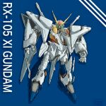 blue_background character_name glowing glowing_eyes green_eyes gundam gundam_hathaway's_flash head_tilt highres mecha mobile_suit no_humans open_hands science_fiction solo v-fin voldox xi_gundam