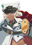 1girl absurdres belt_buckle buckle clover dark-skinned_female dark_skin four-leaf_clover guilty_gear guilty_gear_strive hat hat_with_ears highres looking_at_viewer military_hat navel ramlethal_valentine white_headwear yellow_eyes