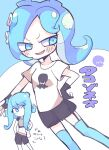 2girls black_shorts blue_background blue_eyes blue_hair blue_legwear blush hand_on_hip long_hair looking_at_another medium_hair multiple_girls navel octoling one_eye_covered open_mouth shirt shorts simple_background smile splatoon_(series) splatoon_2 splatoon_2:_octo_expansion tentacle_hair terada_tera thigh-highs white_background white_shirt