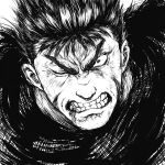 1boy angry berserk clenched_teeth commentary greyscale guts_(berserk) looking_at_viewer male_focus monochrome one_eye_closed portrait scar scar_on_face scar_on_nose short_hair shu-mai simple_background solo teeth upper_body white_background wide-eyed