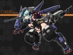 1boy 1girl :o black_leotard blue_eyes blue_hair breasts character_name clothing_cutout copyright_name eyebrows_visible_through_hair giant giantess hexa_gear highres leotard looking_at_viewer mecha_musume navel open_hands pawn_a1 personification rayblade_impulse shoulder_cannon solo_focus stomach_cutout takoyakin under_boob wheel