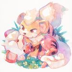 brown_eyes claws commentary_request fangs flower grass growlithe highres hisuian_growlithe no_humans oharu-chan open_mouth pokemon pokemon_(creature) toes tongue