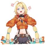 1girl ahoge anger_vein angry bike_shorts black_shorts black_survival blonde_hair blue_eyes blush cracking_knuckles fingerless_gloves flat_chest gloves highres hop3 jacket looking_at_viewer midriff navel nicky_blake open_mouth orange_jacket shorts simple_background solo tagme twintails upper_teeth white_background