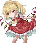 1girl ascot bangs blonde_hair blush breasts closed_mouth crystal curtsey eyebrows_visible_through_hair feet_out_of_frame flandre_scarlet frilled_shirt_collar frills hair_between_eyes highres kayon_(touzoku) leaning_forward light_smile looking_at_viewer medium_breasts medium_hair no_hat no_headwear one_side_up puffy_short_sleeves puffy_sleeves red_eyes red_skirt red_vest short_sleeves simple_background skirt slit_pupils solo standing touhou vest white_background wings yellow_neckwear