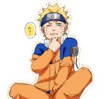 1boy blonde_hair blue_eyes blush closed_mouth commentary_request forehead_protector highres jacket long_sleeves looking_at_viewer naruto naruto_(series) ninja one_eye_closed orange_jacket orange_pants pants pinoko_(pnk623) short_hair simple_background solo speech_bubble uzumaki_naruto white_background