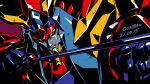 aiming arrow_(projectile) artist_name babamba dated highres holding holding_arrow mecha no_humans portrait raideen_(mecha) raideen_(series) science_fiction solo super_robot yellow_eyes yuusha_raideen