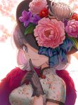 1girl black_gloves blue_eyes breasts bright_pupils cherry_blossoms china china_dress chinese_clothes closed_mouth dress eyebrows_visible_through_hair finger_to_mouth floral_print flower gloves grey_hair hat hat_flower highres kws love_live! love_live!_superstar!! medium_breasts medium_hair shanghai short_sleeves shushing sideways_glance signature smile solo tang_keke upper_body