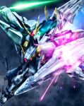 beam_saber blocking commentary energy_sword flying glowing glowing_eyes green_eyes gundam gundam_hathaway's_flash highres looking_at_viewer mecha mobile_suit no_humans science_fiction shield solo sword v-fin weapon xi_gundam youiki