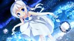 1girl :d absurdres bangs bare_arms bare_shoulders blue_bow blue_eyes blush bow breasts bubble chinomaron dress eyebrows_visible_through_hair gochuumon_wa_usagi_desu_ka? hair_between_eyes hair_bow hair_ornament high_heels high_ponytail highres holding holding_shoes kafuu_chino leaning_forward long_hair open_mouth ponytail reflection shoes shoes_removed sleeveless sleeveless_dress small_breasts smile solo standing very_long_hair white_dress white_footwear white_hair x_hair_ornament
