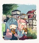 2girls back_bow bangs blue_hair blue_kimono blunt_bangs blush bow building bush chibi closed_eyes commentary day feet_out_of_frame food green_skirt hair_bow highres holding holding_food japanese_clothes kimono kotonoha_akane kotonoha_aoi long_hair long_sleeves multiple_girls on_bench open_mouth outdoors oyasumi_makura pink_hair pink_kimono red_bow red_skirt siblings sisters sitting skirt striped striped_bow upper_body voiceroid wide_sleeves