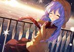 1girl :d ^_^ absurdres bangs blue_hair blush brown_coat chinomaron closed_eyes coat eyebrows_visible_through_hair facing_viewer fringe_trim gochuumon_wa_usagi_desu_ka? hair_between_eyes hair_ornament hand_up highres hood hood_down hooded_coat horizon kafuu_chino long_hair long_sleeves ocean open_mouth outdoors plaid plaid_scarf railing red_scarf red_skirt scarf skirt sleeves_past_wrists smile snowflakes solo sunrise very_long_hair x_hair_ornament