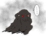 ... animal animal_focus black_fur goat grey_background halftone luohua_shui_xiang no_humans original red_eyes