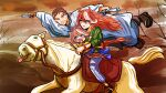 1boy 1other 2girls animal_ears bridle casual commentary crying dual_wielding erlkoenig father_and_son fine_art_parody gold_ship_(racehorse) highres holding holding_syringe horse_ears horse_girl horse_tail horseback_riding long_hair mejiro_family_doctor multicolored_hair multiple_girls parody reins riding robe saddle scene_reference segen311 streaked_hair sunken_cheeks symboli_rudolf_(umamusume) syringe tail tokai_teio_(umamusume) umamusume younger