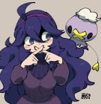 1girl @_@ ahoge alternate_breast_size bangs black_eyes blue_eyes blue_hair blush_stickers breasts brown_background chichibu_(watson) closed_mouth dress drifloon fingers_to_mouth hair_between_eyes headband hex_maniac_(pokemon) index_fingers_together large_breasts long_hair long_sleeves looking_to_the_side messy_hair pokemon pokemon_(creature) purple_dress sidelocks signature simple_background smile spider_web_print standing turtleneck upper_body very_long_hair