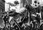 arm_cannon bridge choujikuu_yousai_macross city glaug greyscale highres macross mecha missile_pod monochrome no_humans regult science_fiction space_craft standing walker weapon zandan_zero_to_na!?