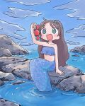 1girl 1nupool animal aqua_eyes bare_shoulders black_hair blue_sky blue_theme clouds cloudy_sky crab highres holding holding_animal long_hair mermaid monster_girl open_mouth original ripples rock scales sky smile solo strapless tube_top
