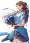 1girl :d absurdres bangs blunt_bangs bouquet braid brown_hair clothes_around_waist cowboy_shot floating_hair flower french_braid hair_bun hair_ribbon highres holding holding_bouquet idolmaster idolmaster_cinderella_girls jacket jacket_around_waist kamiya_nao light_smile looking_at_viewer looking_to_the_side necktie open_mouth plaid plaid_skirt pleated_skirt purple_flower ribbon school_uniform shino_sto short_sleeves simple_background skirt smile solo triangle