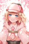 1girl bangs blonde_hair blue_eyes cherry_blossoms eyebrows_behind_hair eyebrows_visible_through_hair flower hair_ornament hairclip haori hat hololive hololive_english japanese_clothes looking_at_viewer mamaloni necktie open_mouth peaked_cap pink_headwear ribbon shirt short_hair smile solo teeth upper_body watson_amelia