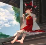 1girl barefoot bow brown_hair crexby detached_sleeves dress feet food hair_bow hakurei_reimu highres japanese_clothes looking_at_viewer popsicle red_dress shade shrine sitting sky smile soles stairs summer sunlight toes touhou tree