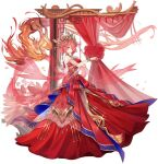 1girl ark_order bangs bird bow bracelet breasts curtains detached_collar detached_sleeves double_bun dress dress_bow fenghuang_(ark_order) fire flame full_body gem gold_trim hair_ornament hair_rings hair_stick highres jewelry large_breasts official_art phoenix red_bow red_dress redhead ring sidelocks sleeveless sleeveless_dress solo tachi-e