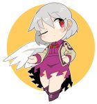 1girl bangs closed_mouth cross-laced_footwear dress eyebrows_visible_through_hair full_body grey_hair ini_(inunabe00) jacket kishin_sagume long_sleeves looking_at_viewer one_eye_closed purple_dress red_eyes red_neckwear short_hair single_wing solo touhou white_background white_wings wings yellow_background