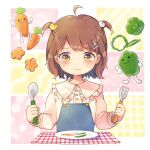 1girl ahoge bangs bird_hair_ornament blush brown_eyes brown_hair carrot child closed_mouth collared_shirt commentary_request egg_hair_ornament eyebrows_visible_through_hair food-themed_hair_ornament fork fork_hair_ornament frilled_shirt_collar frilled_sleeves frills green_pepper hair_ornament highres holding holding_fork holding_spoon long_sleeves original overalls plaid plate shiramori_sawa shirt solo spoon tears two_side_up wavy_mouth white_shirt