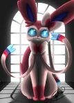 blue_eyes bow cheeziespaz highres horror_(theme) original pokemon pokemon_(creature) shadow sharp_teeth signature sitting sylveon teeth window