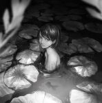 1girl bob_cut closed_mouth fish greyscale highres lily_pad looking_at_viewer medium_hair monochrome original outdoors partially_submerged solo upper_body wataboku