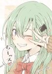 1girl bangs blush grin hair_between_eyes hair_ornament hairclip heart highres kantai_collection long_hair long_sleeves one_eye_closed red_neckwear simple_background smile solo sparkle speech_bubble suzuya_(kancolle) translation_request twitter_username umino_mokuzu_(shizumisou) upper_body v v_over_eye violet_eyes