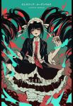 1girl bangs black_hair black_jacket black_legwear black_skirt blush bonnet card celestia_ludenberg center_frills collared_shirt commentary cowboy_shot criis-chan danganronpa:_trigger_happy_havoc danganronpa_(series) drill_hair english_text frilled_skirt frills gothic_lolita green_background hand_up holding jacket jewelry layered_skirt lolita_fashion long_hair long_sleeves looking_at_viewer nail_polish necktie open_clothes open_jacket open_mouth print_neckwear red_background red_eyes red_nails red_neckwear shirt skirt smile solo thigh-highs title translation_request twin_drills twintails twitter_username