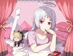 1girl ahoge aruvian13 character_doll commission curtains feet_up food forehead_jewel highres hyde_(under_night_in-birth) lying on_stomach pillow pink_shirt pocky pointy_ears red_eyes shirt socks under_night_in-birth vatista white_hair
