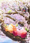 bio_spark blue_eyes blue_sky blush_stickers cherry_blossoms clip_studio_paint_(medium) closed_eyes dango eating food helmet highres in_tree kirby kirby_(series) ninja ninjya_palette pitch_(kirby) sitting sitting_in_tree sky smile tree waddle_dee wagashi