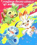 :d commentary_request copyright_name etsuko_pkmn fangs grookey highres holding holding_stick no_humans open_mouth pokemon pokemon_(creature) scorbunny smile sobble stick tongue