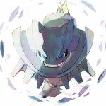 bishamon_(usagi_ba) blue_eyes crystal highres looking_at_viewer mega_pokemon mega_steelix no_humans pokemon pokemon_(creature) sketch smile solo steelix teeth white_background