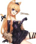 1girl absurdres alternate_hair_length alternate_hairstyle animal_ears black_dress black_gloves blonde_hair blue_eyes breasts cat_ears cat_tail dress elbow_gloves evening_gown girls_frontline gloves highres icenight idw_(girls'_frontline) official_alternate_costume paw_pose small_breasts solo tail