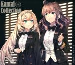 2girls alternate_costume artist_name black_bow black_neckwear black_skirt blonde_hair blue_eyes blush bow bowtie brown_hair buttons closed_mouth collared_shirt copyright_name dated hair_between_eyes hairband highres himeyamato kantai_collection long_hair long_sleeves medal multiple_girls open_mouth pleated_skirt saratoga_(kancolle) shirt side_ponytail skirt tiara upper_body victorious_(kancolle) white_shirt