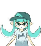 1girl animated animated_gif aqua_eyes aqua_hair aqua_headwear blue_eyes blue_hair blue_headwear blush comamawa grey_pants hat inkling jumping long_hair looking_at_viewer pants pointy_ears shirt short_sleeves simple_background smile solo splatoon_(series) splatoon_2 upper_body white_background white_shirt