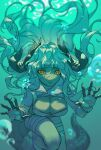 1girl air_bubble arknights breasts bubble caustics claws crocodilian_tail estelle_(arknights) eyebrows_visible_through_hair floating_hair high_collar highres horns large_breasts long_hair looking_at_viewer no_nose open_mouth orange_eyes scar scar_on_face shorts shuiye_xing solo underwater