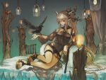 1girl absurdres arknights bed bed_sheet belt bird bird_on_hand black_swimsuit breasts candle closed_mouth crow curtains cushion detached_sleeves high_ponytail highres holding holding_staff horns infection_monitor_(arknights) kensei_(v2) large_breasts long_hair lying official_alternate_costume on_bed one-piece_swimsuit outstretched_arm pointy_ears ponytail sandals shining_(arknights) shining_(silent_night)_(arknights) solo staff swimsuit thighs tree white_hair