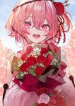 1girl absurdres betabeet blush bouquet clothing_cutout flower hair_flower hair_ornament highres holding holding_bouquet nijisanji nijisanji_en open_mouth pink_eyes pink_hair plant red_flower red_rose rose rosemi_lovelock short_sidetail shoulder_cutout sky solo thorns vines white_flower white_rose