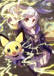 1girl blue_eyes book brown_eyes coat electricity highres hood hood_down looking_at_viewer norimaki_(nrmk_norinori) open_mouth pants pichu pointing pointing_up purple_coat robin_(fire_emblem) robin_(fire_emblem)_(female) smile super_smash_bros. twintails white_hair white_pants