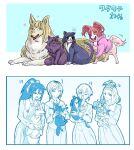 4girls animal animal_ears animalization black_hair blonde_hair cat clothed_animal dog dog_ears dog_tail highres holding holding_animal katou_asuka kenchi kuroki_tomoko long_hair multiple_girls nemoto_hina okada_akane ponytail sasaki_fuuka school_uniform tail tail_wagging tamura_yuri tanaka_mako watashi_ga_motenai_no_wa_dou_kangaetemo_omaera_ga_warui! yoshida_masaki
